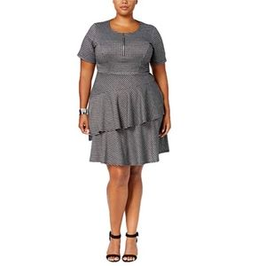 NY Collection Womens Fit Flare Dress Plus Size 2X